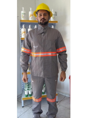 CONJUNTO NR10 CINZA C/ REFLETIVO  ALGODÃO PARA ELETRICISTA